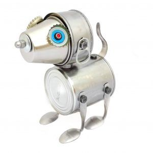 Robot Perro lata hecho a mano por Carolata Recycled Art