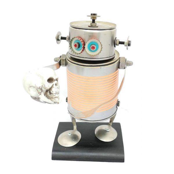 Robot grande rosa Shakespeare hecho a mano por Carolata Recycled Art