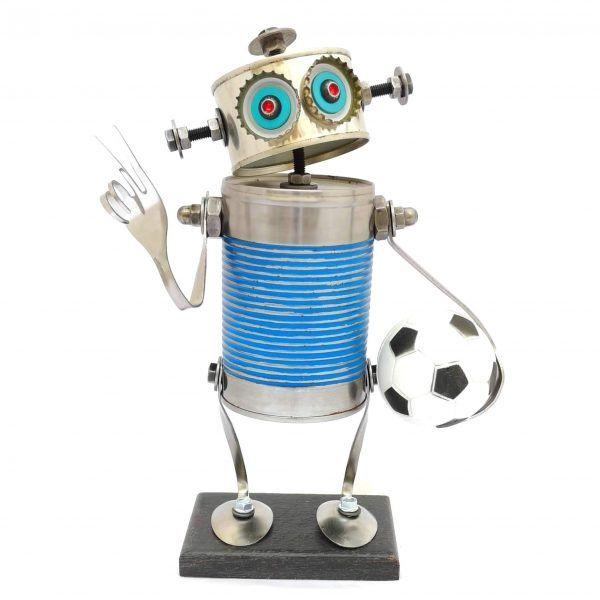 Robot mediano azul fútbol