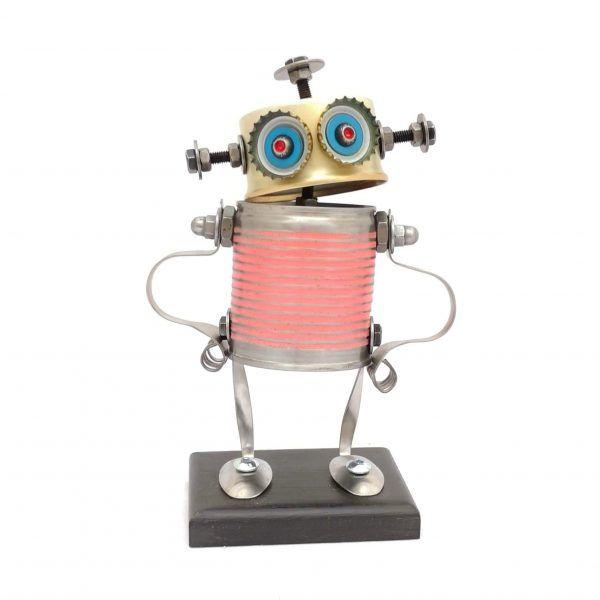 Robot pequeño rosa brazos en jarra hecho a mano por Carolata Recycled Art